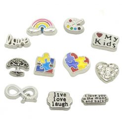dotiow autism Awareness floating charms locket