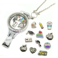 school teacher floating locket lanyard gtaduation gift
