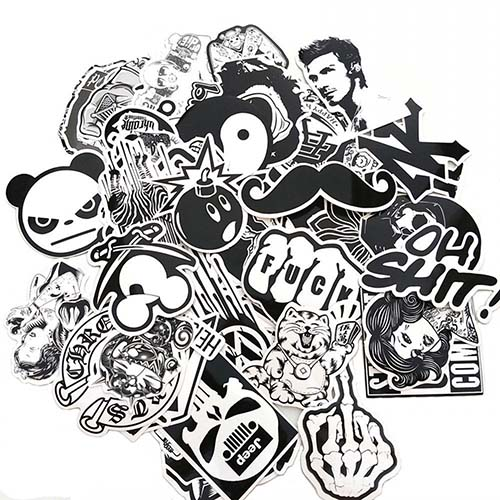 white black stickers