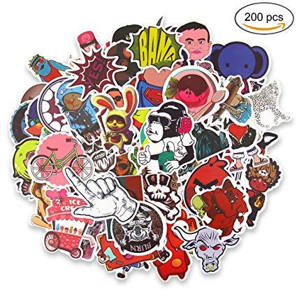 200pcs luggage skateboard stickers