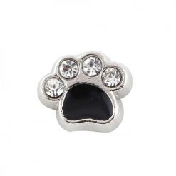 Crystal Enamel Black Dog Paw Floating Locket Charms